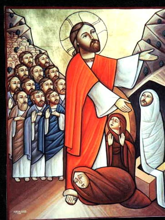 a coptic icon shows Jesus raising Lazarus and Mary and Martha worshipping at Jesus' feet.